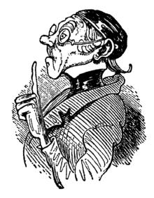 Lehrer Lämpel in der Geschichte Max und Moritz von Wilhelm Busch, 1865